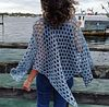 sky blue crochet silk poncho
