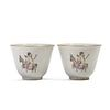A PAIR OF FAMILLE ROSE FIGURES CUPS