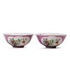 A PAIR OF FAMILLE ROSE FLOWERS BOWLS