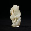 A WHITE JADE CARVING OF A FOREIGNER