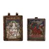 TWO TIBETAN BRONZE RELIQUARY BOXES WITH THANGKAS
