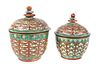 (2) Chinese Thai Bencharong Porcelain Jars
