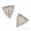 Art Deco Marcus & Co. Platinum and Diamond Dress Clips