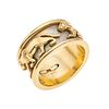 Argolla en oro amarillo y blanco de 14k. Motivo panteras. Peso: 12.1 g.