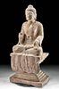 Tang Dynasty Stone Seated Buddha / Shakyamuni