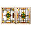 A Pair American Leaded/Stained Glass Window Panels