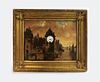 19th C. French Clock Painting on Board