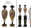 A Pair of 19th C Sevres Hand Painted Urns, Fuchs Signed