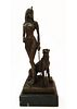 Egyptian Lady & Panther Bronze Figurine Group, Signed