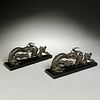 Pair Chinese bronze scroll weights or handles