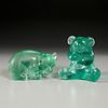 Flavio Poli (attrib.), (2) corroso glass bears
