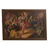 JORGE RANGEL GUERRA. Escena de taberna. Firmado y fechado 1944. Óleo sobre tela. Enmarcado. 150 x 214 cm