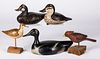 Three carved and painted duck decoys, etc.