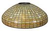 Tiffany Studios Geometric Leaded Glass Shade, domical with amber geometric brick pattern in 14 rows, marked 'Tiffany Studios, New York' diameter 20 in