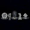 Grp: 5 Lalique Crystal Dishes & Figures