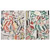 Pair of Leger Style Cubist Paintings on Board