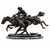 """Frederic Remington """"The Wounded Bunkie"""" Bronze Sculpture"""
