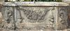 Five Part Limestone Garden Wall, having dolphin and putti ends, wall with fruit, 18th century or earlier, (extremely heavy, several hundred pounds/no