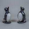 Par de portalibros en forma de pingüinos en mármol / Pair of marble penguin bookends