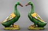 Chinese Export Green Porcelain Ducks, Pair