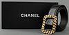 Chanel Black Patent Leather Trompe L'oeil Belt
