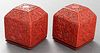 Chinese Cinnabar Lacquer Boxes w Dragons, Pair