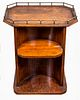 Arts and Crafts Oak And Brass Open Bar Cabinet