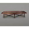 Arturo Pani. Mesa de centro en madera de caoba y acero dorado / Mahogany and gilded steel coffee table