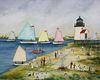 "Jan Munro Mixed Media on Paper ""Rainbow Fleet Rounding Brant Point"""