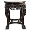 Chinese Inlaid Marble and Carved Wood Table