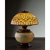 Tiffany Studios, White Acorn Table Lamp with Rare Matching Base