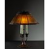 Tiffany Studios, 'Linenfold' Favrile Glass Table Lamp with Rare Candelabra Base