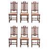 Lote de 6 sillas. Francia. SXX. Estilo Enrique II. En talla de madera de roble. Con respaldos semiabiertos, asientos de bejuco.