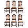 Lote de 6 sillas. Francia. SXX. En talla de madera de roble. Con respaldos semiabiertos, asientos con tapicería, chambranas.