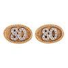 "A Pair of Diamond ""80"" Cufflinks in 14K"