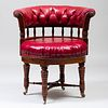 Victorian Oak and Tufted Leather Desk Chair