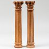 Pair of Carved Wood Fluted Ionic Columns