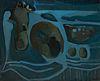 """FRANCISCO BORES LÓPEZ (Madrid, 1898- Paris, 1972). """"Nature morte et bleu composition / composition en azul"""", 1960. Oil on canvas. Work reproduced in t"""