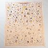 Continental Figural Tapestry and a Floral Crewelwork Linen Panel