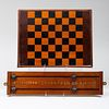 Victorian Mahogany and Ebonized Billiard Counter and an Ebonized and Stained Wood Games Board