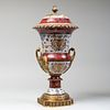 Gilt Metal Mounted Porcelain Urn and Cover, of Recent Manufacture