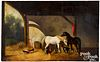 Oil on canvas stable scene, 19th c.