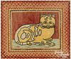 Braided and hooked rug of a cat, early/mid 20th c.