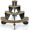 Painted pine tiered plant stand, late 19th c.