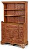 Stained pine stepback cupboard, ca. 1800