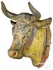 Painted zinc cow head trade sign, 19th c.