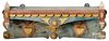 Painted tramp art hanging shelf, ca. 1900, with a