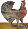 Large carved and painted rooster, late 19th c.