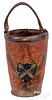 Painted leather fire bucket, 19th c.