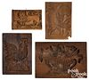 Four assorted carved cakeboards